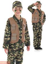 Boys Desert Army Costume Childs Soldier Commando Fancy Dress Uniform Book Week