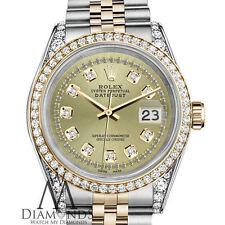 Ladies Rolex SS & 18k 26mm Datejust Watch Champagne String Diamond Dial