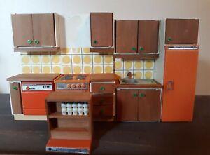 Lundby Dollhouse Orange Kitchen Set 1:16 Scale