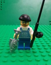 *NEW* Lego Fisherman Minifig Figure Fig Black Fishing Rod Silver Big Fish x 1