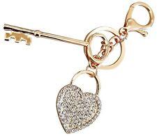 Lover Valentine Key to Heart Rhinestone Bling Keychain Key Holder Ring Charm!