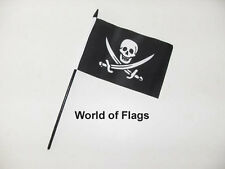 "JACK RACKHAM SMALL HAND WAVING FLAG 6"" x 4"" Pirate Craft Table Desk Top Display"