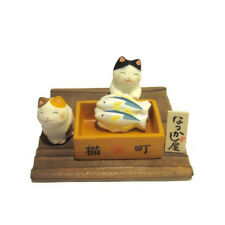 Diorama Chat Japonais blanc 45mm  Poissonnerie Maneki Neko  Made in Japan 40575