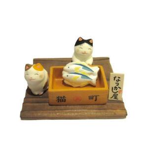 Diorama Gatto Giapponese Bianco 45mm Negozio di Pesce Maneki Neko Made IN 40575