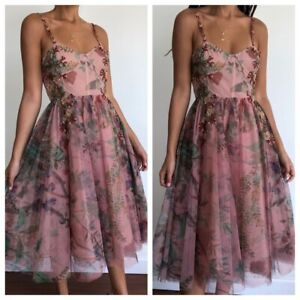 PATBO Patricia Bonaldi NWT Floral Tulle Embroidered Cocktail Beaded Dress 4