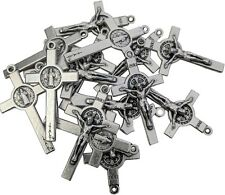 LOT SET 50 St Saint Benedict Rosary Crucifix Cross Silver Tone Pendant 1.45 inc