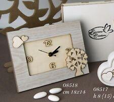 Bomboniera Matrimonio Battesimo Comunione Orologio legno ETM 08518