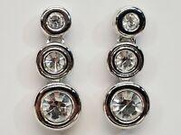 Signed Swan Swarovski Earrings Crystal Dangles Pierced 14K White Gold Post Backs