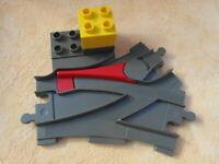 LEGO DUPLO EISENBAHN WEICHE ALTES GRAU mit stein
