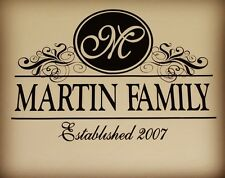 LARGE Personalized Monogram Family Vinyl Home Wall Decal Sticker Decor Wedding