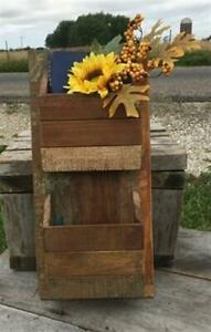 Wood Mail Letter Holder, Rustic Mail Sorter Organizer, Farmhouse Bill Caddy A