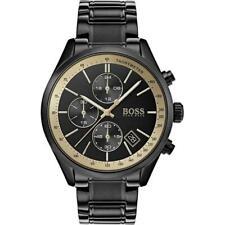 New Hugo Boss Men's Watch HB1513578 Grand Prix Black Stainless Steel Chronograph