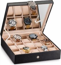 Glenor Co Watch Box for Women - 15 Slot Display Organizer with Modern Buckle