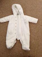 Unisex White Snow Coat Age 0-3 Months