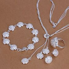 beautiful Fashion sterling silver  Rose Ring Earring Bracelet Necklace set S320