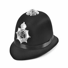 ADULT POLICE BLACK BOBBY HAT SATIN FABRIC FANCY DRESS ACCESSORY