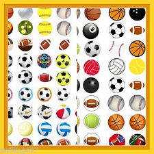 100 Precut assorted SPORTS BALLS BOTTLE CAP IMAGES 1 inch discs  rounds