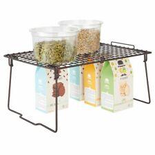 mDesign Metal Stackable Kitchen Storage Organizer Shelf, 2 Pack - Bronze