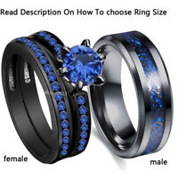 2 Rings Couple Rings Stainless Steel Men's Ring Sapphire Women's Wedding Ring