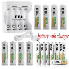 4 Slot Ni-MH AA AAA USB Battery Charger + 1100mAh 2300mAh 2800mAh Rechargeable