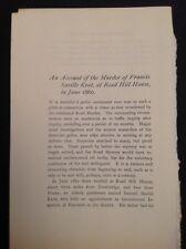 K3-2 Ephemera Article 1970s Murder Francis Kent 1860 Road Hill House London