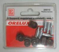 ORECA 6 SUPPORTI REGGIPIANI X CRISTALLI ø 5 MM IN PLASTICA MARRONE COD. 25515