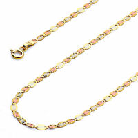 Wellingsale 14k Tri Color Gold Solid 2mm Valentino Star Chain Necklace