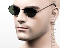 Small Oval Round Lens Metal Vintage Style Sunglasses Green Lens Black 416 GN
