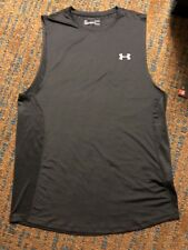 NWT Men's L Under Armour Black Heat Gear    Fitted Tank Top 1320546 $30