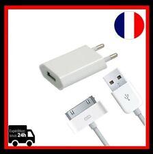 Cable USB Chargeur  IPhone 4/4S + Eu Prise adaptateur mural Universel de voyage