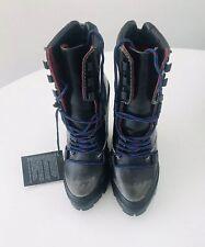 NEW Sz 7 Women's Diesel D-Vibe MB Leather Platform Distressed Black Boots $298