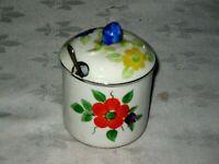 A Handpainted English 1930's Art Deco Floral Morley Fox & Co Sugar Bowl & Spoon