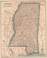 1923 Antique Mississippi State Map Original Vintage Map of Mississippi 8110