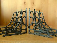 "6 LARGE BROWN ANTIQUE-STYLE 8"" SHELF BRACKETS CAST IRON rustic garden SCROLL"