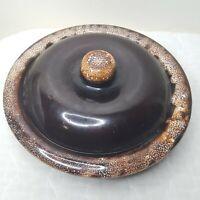 Vintage Brown Splatter Glazed Stoneware Crock Baking Dish with Lid Marked USA