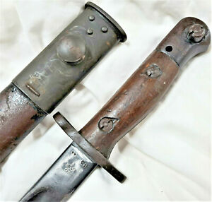 RARE WW2 1944 DATED AUSTRALIAN OWEN GUN LITHGOW BAYONET WITH SCABBARD