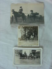 3 Vintage Photos Buggy Horse People 803