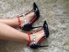 Women Ladies Studded Patent T-Bar Court Heels Sandals Multicoloured Ankle Strap
