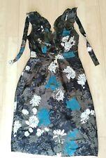 Ladies JIGSAW Silk Blend Dress Size 8 Grey Black Smart Party Evening