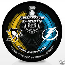 2016 Pittsburgh Penguins vs Tampa Bay Lightning Stanley Cup Playoffs Hockey Puck