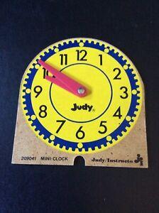 Judy Instructo Mini Clock Tell Time 4.5 Inch Homeschool Vintage