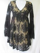 xhilaration Black Lace Dress Long Bell Sleeve Nude Knit Lining Above Knee SZ XS