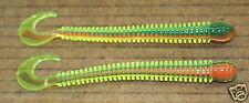 "4"" Ring Worm Disc Body Firetiger Bass Walleye Plastic Jig Worm 50 pack bulk"