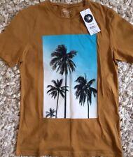 NEW TOPMAN S men's teens brown tan slim fit palm tree scenic print t-shirt top