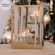 Christmas Double Glass Candle Tealight Holder Festive Reindeer Scene