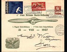 FDC 1927 1 POSTE AERIENNE ZURICH-BELLINZONE ( POSTA AEREA ZURIGO BELLINZONA 1-78