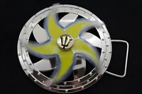 Men Women Silver Metal Buckle Round Spinning Arrow Yellow Star Circle Neptune