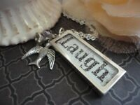 Charm Necklace, Silver, Word, Laugh, glass Pendant, bird, handmade