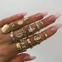 15 Pcs/set Gold Midi Finger Ring Set Vintage Punk Boho Knuckle Rings Jewelry US