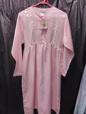 Ashley Taylor Pink Small Nightgown Long Sleeve Embroidery floral Pearls NWT
